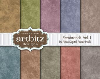 "Rembrandt, Vol. I, 10 Piece Digital Scrapbooking Paper Pack, 12""x12"", 300 dpi .jpg, Instant Download!"