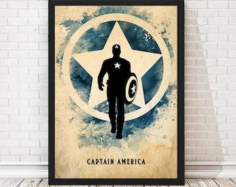 Vintage Avengers Captain America Poster, Retro Poster, Minimalist Poster, Avengers Print