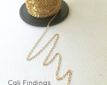 14K Gold Fill Chain- BY FOOT- Flat Cable Chain 1.3mm Wholesale, Bulk, Findings, Supplies, Gold Fill Chain, Gold Chain