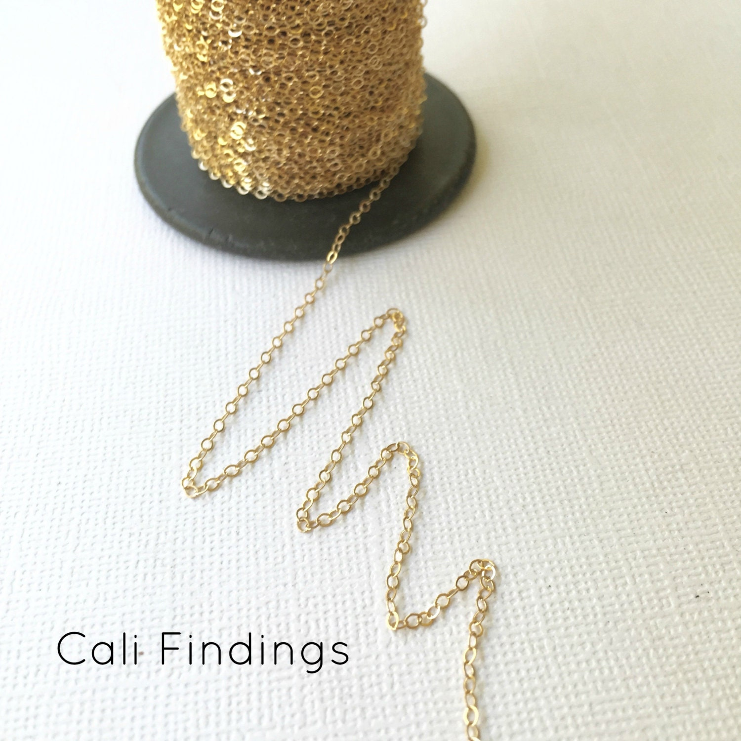 14K Gold Fill Chain BY FOOT Flat Cable Chain 13mm