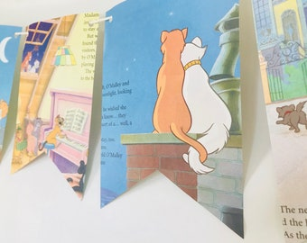 The Aristocats Story Book Pages Bunting Pennants Nursery Decor Baby Shower Birthday Party Garland Flags