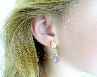 Watermelon Tourmaline earrings Tourmaline gold filled earrings  tourmaline jewelry gemstone earring  Birthday gift for her