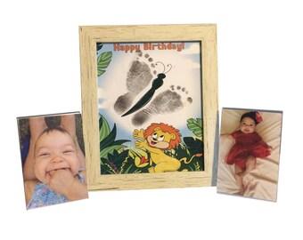 Baby Hand Prints/Foot Prints Birthday Cards Making and Keepsake Kit