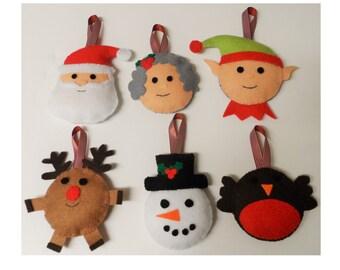 Instant Download - Set of 6 Christmas Felt Decorations Santa, Elf, Mrs Claus, Reindeer, Robin & Snowman PDF Pattern
