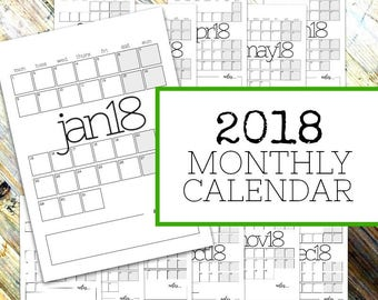 2018 MONTHLY CALENDAR - Monthly Planner Printable Pages - A4/Letter - Sunday & Monday start - Instant Download