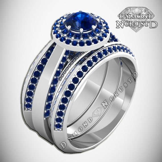 r2d2 droid inspired sapphire swarovski on sterling silver or white gold 3 ring engagement bridal set - R2d2 Wedding Ring