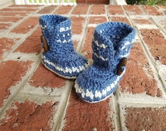 READY TO SHIP Crochet Baby Boots, Uggs, Button Boot, Blue, Baby Girl, Dakota Boot
