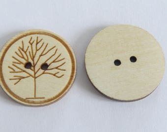 Large round wooden button with pattern of tree in front (set of 3)