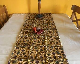 Sunflower Table Runner, Rag Quilt Table Runner, Sunflower Table Topper, Fall Table Decor, Sunflower Runner, Fall Decor Table Runner, OOAK