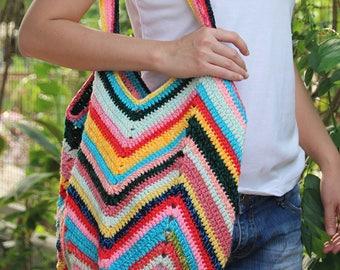 Bright Multicolor crochet market bag, Colorful crochet beach bag, Colorful Shoulder bag, Boho bag, Summer bag, Tote Bag, B 6028