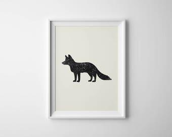 Fox Poster | Fox Constellation | Nursery Decor | Fox Printable | Vulpecula Print