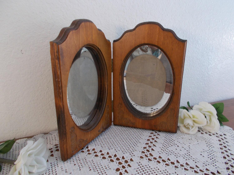 Vintage tallado madera cuadro Oval marco espejo foto decoración país ...
