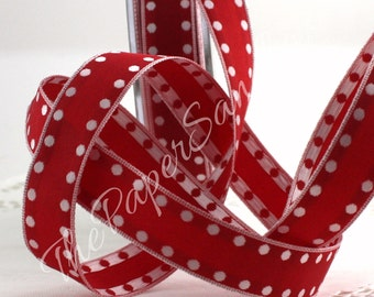 """Wired Red/White Polka Dot Ribbon, 5/8"""" wide"""