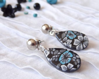 "Earrings ""drop"" polymer clay blue black white flowers"