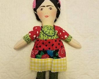 Frida khalo rag doll