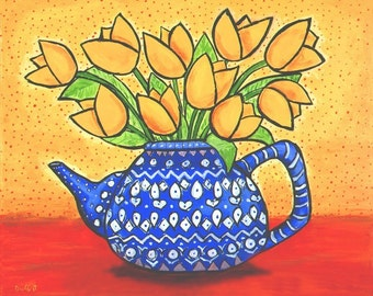Yellow Tulips in Blue and WhiteTeapot- Shelagh Duffett Print