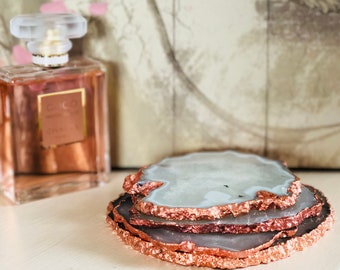 Agate Coasters || Rose Gold Gilding