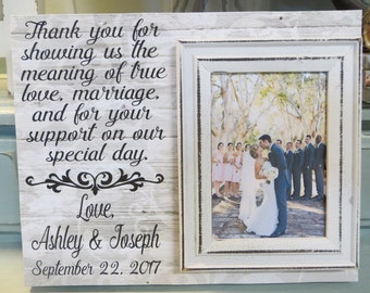 """Wood Wedding Frame, """"Thank you for showing us the meaning of true love..."""",Wedding Gift for Parents, Personalized Wedding Frame for Parents"""
