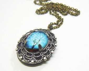 Sapphire Wind  --Small  Wearable Art Locket Necklace-silver locket---gift for her.tree necklace.tree locket Mother's Day gift-cameo necklace