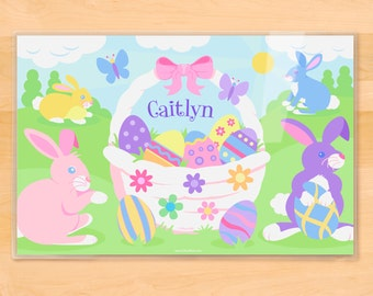 Olive Kids Personalized Girls Easter Bunny Placemat, Kids Placemat, Easter Placemat, Holiday Placemat, Laminated Placemat