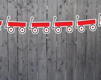 Red Wagon Garland, Red Wagon Banner, Red Wagon Birthday, Red Wagon Decorations, Red Wagon Nursery