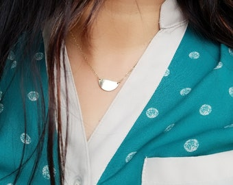 Half Moon Necklace, Half Circle Necklace, Gold Necklace, 14k Gold Filled, Gift for Her, Layering Necklace