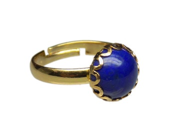 10mm Round Genuine Lapis Lazuli Gemstone Cabochon Gold Plated Adjustable / Expandable Ring