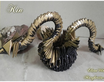 Origami, Modular Origami, Handmade, Dragon, Fantasy, paper dragon, italian handmade, gold, gold dragon, dragons,golden dragon