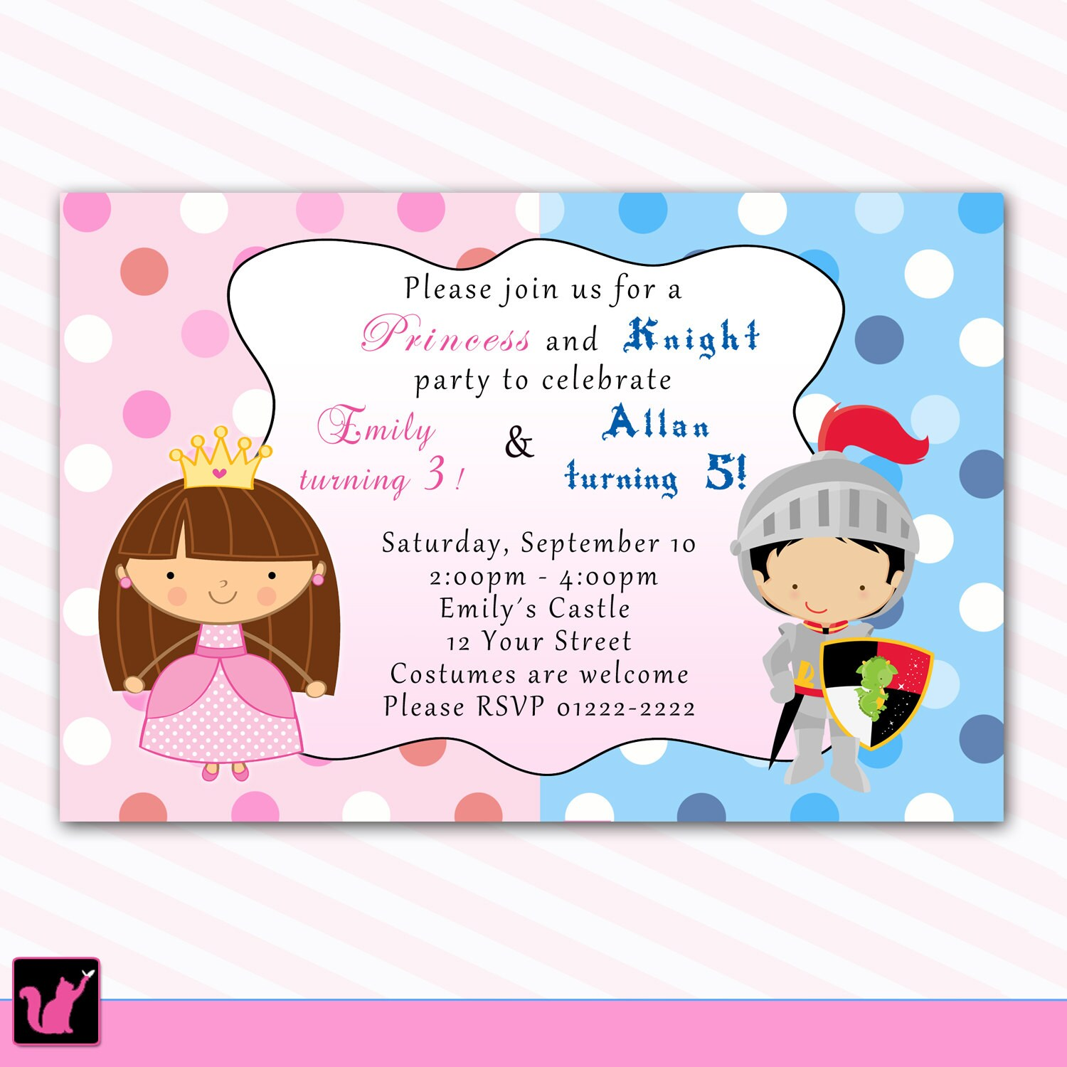 Princess Birthday Invitation Knight Polka Dots Siblings Boy