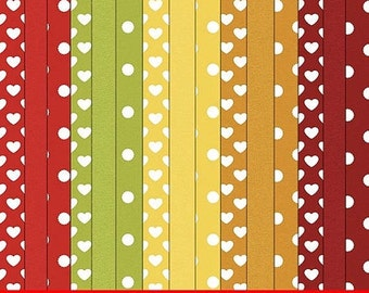 CLEARANCE - CU4CU Fall Season 1 Digital Papers Backgrounds - Hearts, Polka Dots and Cardstock
