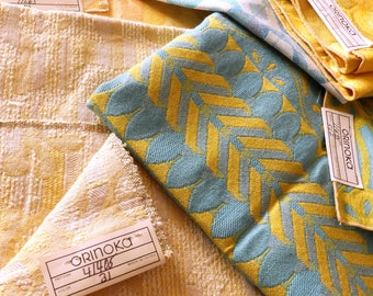 "Six Mid Century Orinoka Upholstery Fabric Samples with Original Factory Tags--Range from 25"" x 26""--All in Tones of Yellows and Blues--RARE"