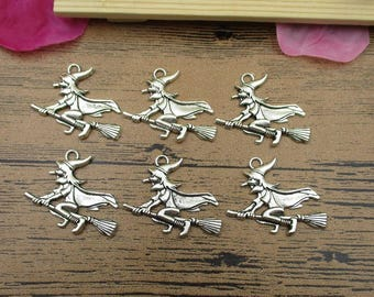6 Witch Halloween Charms ,Antique Silver Tone -RS519