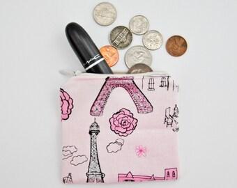 Pink Paris Coin Purse. 100% Cotton.