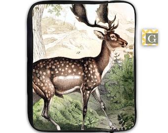 Hunting Deer Antique Print iPad Case, Laptop Bag, Laptop Sleeve, Laptop Case, iPad Sleeve, MacBook Case, Tablet Case - Vintage Deer