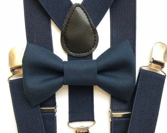 Bowtie and Suspenders Set/Navy Bowtie/Navy Suspenders/Silver Buckles/Baby and Toddler Bowties/Birthday and Wedding Sets