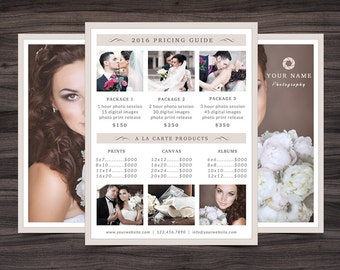 "Photography Pricing Guide Template for Photoshop 001 - 8.5"" x 11"" Price Sheet - Photographer Template - Photography Template"