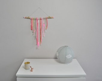 Pink, coral and gold wall decor