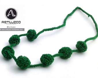 Green Grass Irisbo, Crochet necklace, Necklace in natural fibers, Handmade knitted necklace