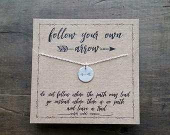 READY TO SHIP .  Follow Your Own Arrow Necklace  .  Personalized Graduation Gift  .  Travel Gift Wanderlust