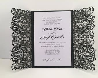 Exquisite Black Lace Laser Cut Wedding Invitations Black and White Wedding Die Cut Laser Cut Black Glitter Laser Cut