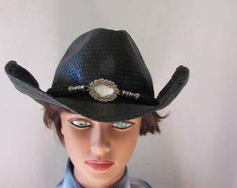 Hat Western Cowboy/girl bling high fashion Black adjustable brim