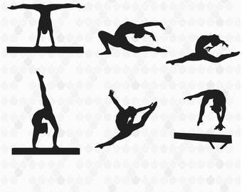 Gymnastics Silhouettes, Gymnastics Clipart, Gymnastics SVG, Silhouette Clipart, Silhouette SVG, Decal for Shops, Gymnasts, Commercial Use