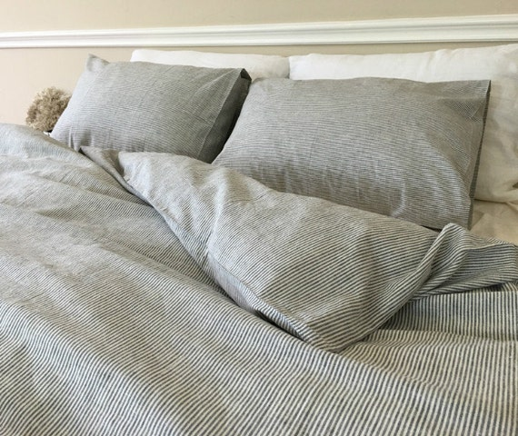 Subtle Black White Striped Duvet Cover In Natural Linen