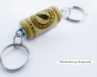 Double Wine Cork Keychain - Wine Lover Gift, Stocking Stuffer, Party Favor, Key Ring