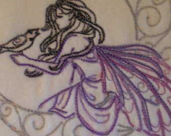 Lunar Fae Embroidered Fleece Scarf