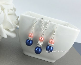 Bridesmaid Gift Flower Girl Gift for Her Navy Necklace Coral Necklace Navy Wedding Coral Jewelry Maid of Honor Jewelry on a Budget