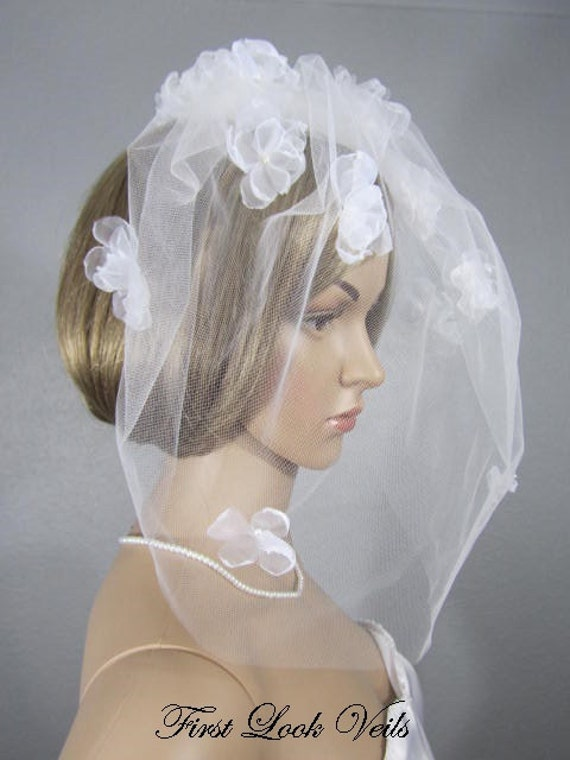 Birdcage Veil, Wedding Veil, Blusher Veil, White Floral Cage Veil, Pearl Accents, Wedding Vail, Bridal Attire, Bridal Accessory, Wedding