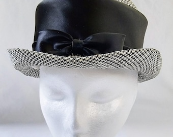 Vintage English Black & White Houndstooth And Satin Riding Style Hat
