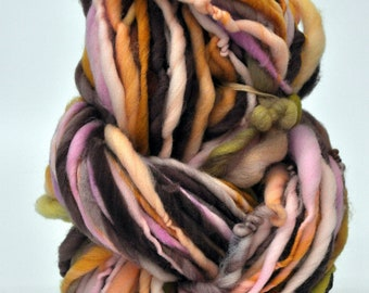Handspun Yarn, Pink, Green, Orange, White, big Bulky yarn, Thick n thin, Pretty, Wall hanging, Knitting, Weaving, Scarf Yarn, Yospun, Fiber