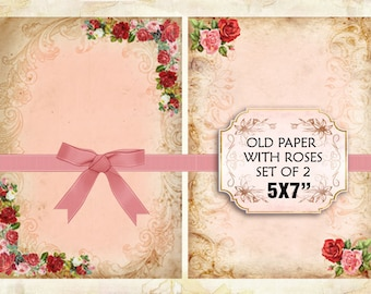 Old paper Vintage with roses Shabby chic paper Scrapbook Decoupage 5x7 inch (378)